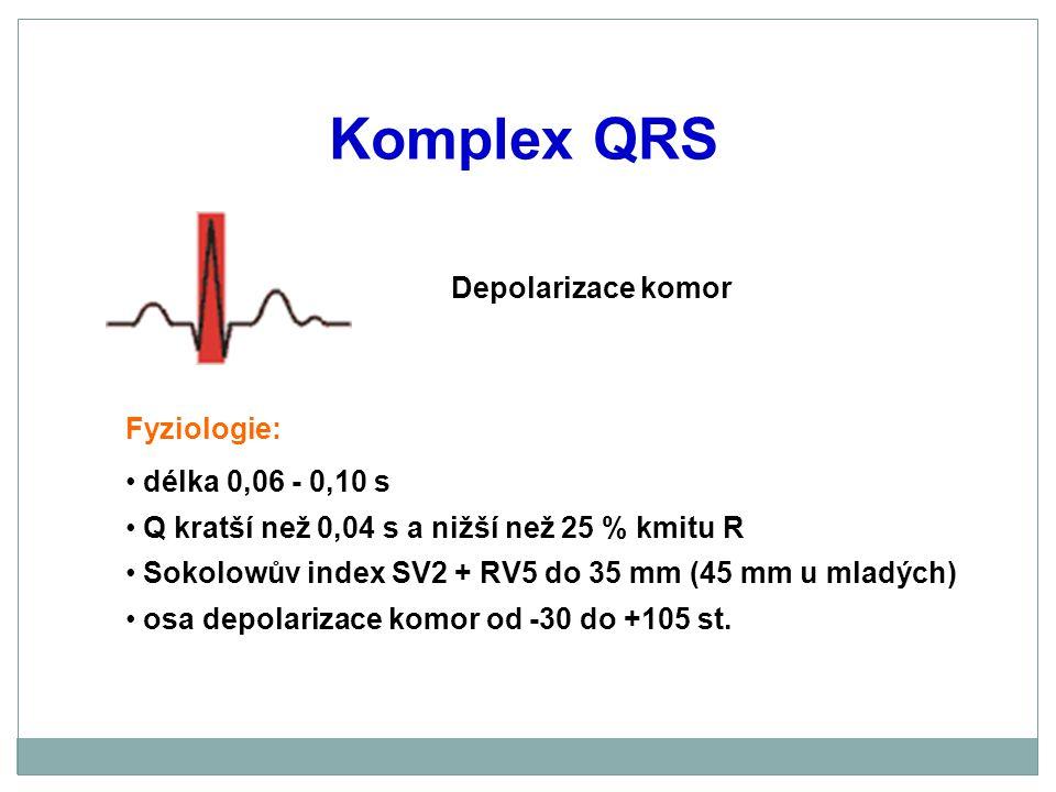 Komplex QRS Depolarizace komor Fyziologie: délka 0,06 - 0,10 s Q kratší než 0,04 s a nižší než 25 % kmitu R Sokolowův index SV2 + RV5 do 35 mm (45 mm