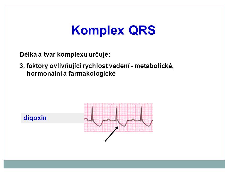 Komplex QRS digoxin Délka a tvar komplexu určuje: 3. faktory ovlivňující rychlost vedení - metabolické, hormonální a farmakologické