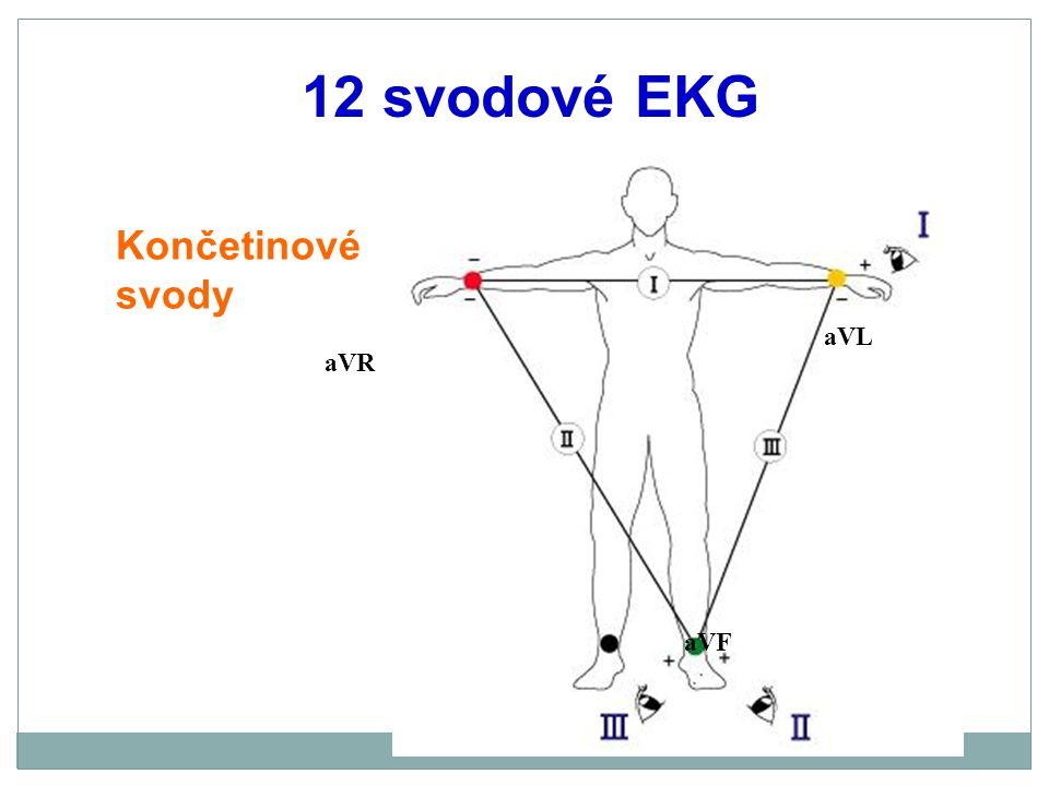 12 svodové EKG, umístění elektrod Hrudní svody