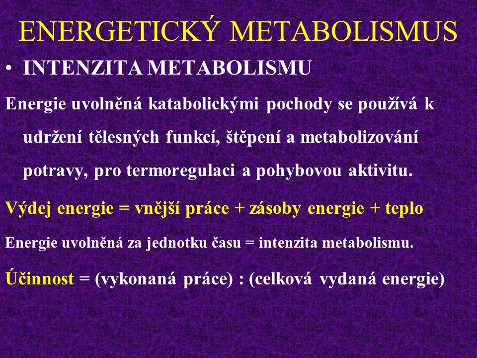 ENERGETICKÝ VÝDEJ Muž 20 let, 75 kg, 180 cm BMR = 1860 kcal (24 hod) Výpočet na základě MET:  17 cal/kg/min  1275 cal/min  76500 cal/hod = 76,5 kcal/hod  1836 kcal/24 hod Hodnoty jsou přibližně stejné