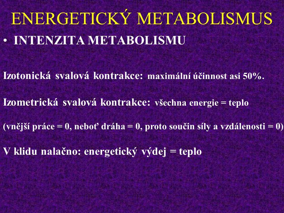 ENERGETICKÝ METABOLISMUS INTENZITA METABOLISMU Izotonická svalová kontrakce: maximální účinnost asi 50%.