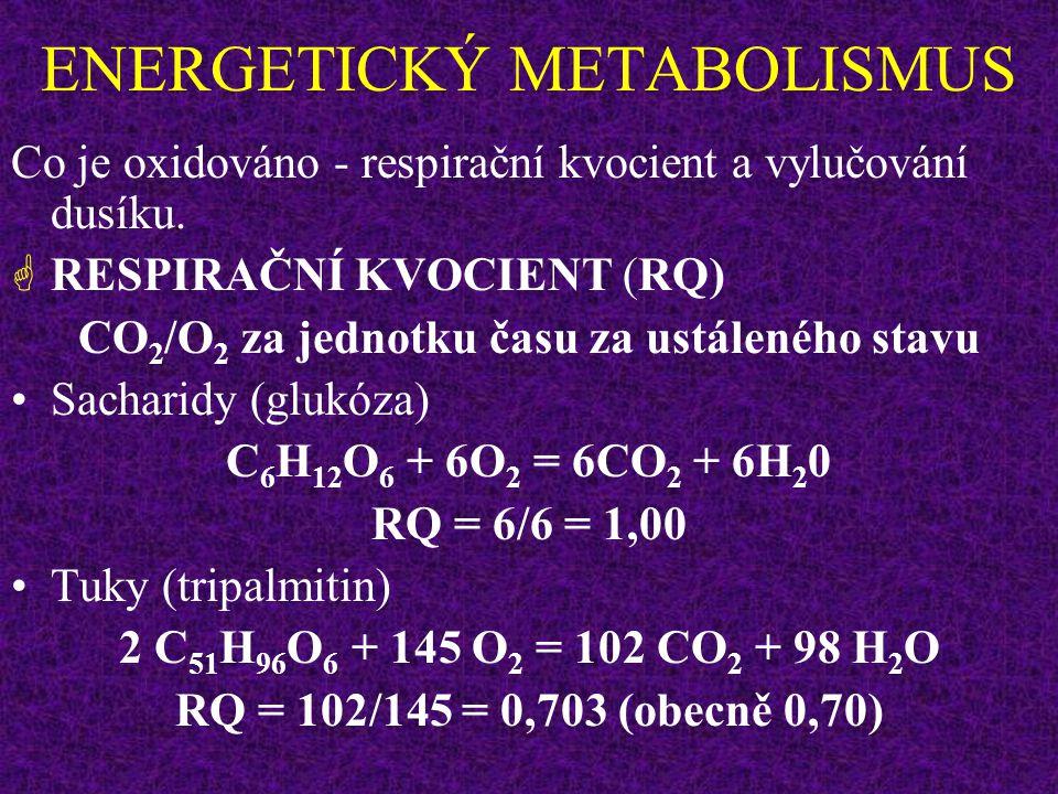 ENERGETICKÝ METABOLISMUS  NEPŘÍMÁ KALORIMETRIE Měření spotřeby kyslíku (VO 2 ), která je úměrná množství vydané energie za jednotku času (s výjimkou situací, kdy vzniká a je splácen kyslíkový dluh).