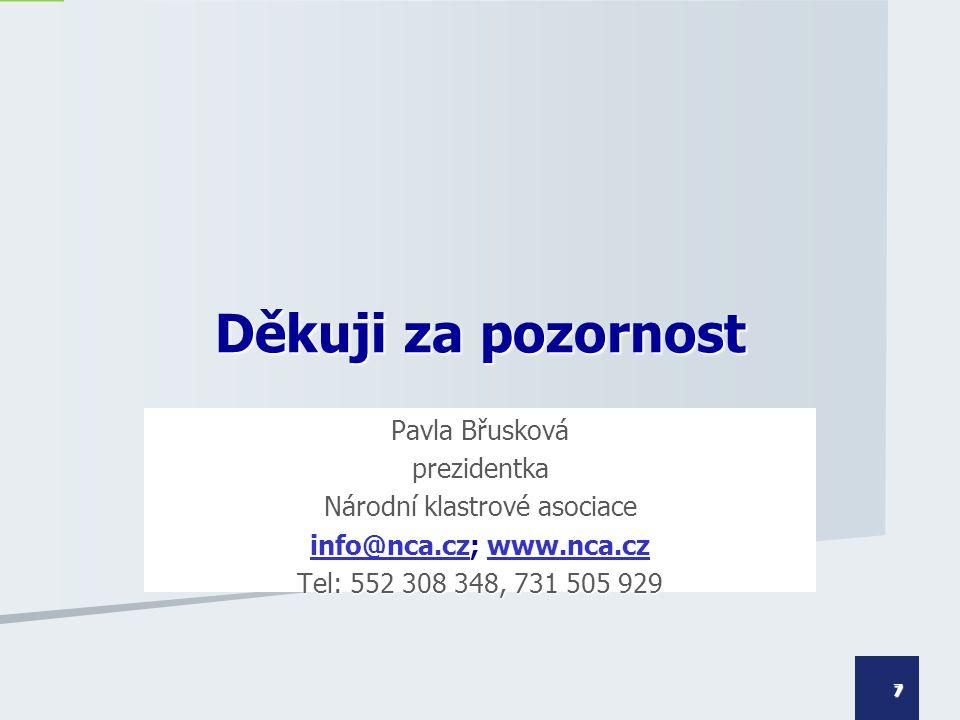 Pavla Břusková prezidentka Národní klastrové asociace info@nca.czinfo@nca.cz; www.nca.cz www.nca.cz info@nca.czwww.nca.cz Tel: 552 308 348, 731 505 92