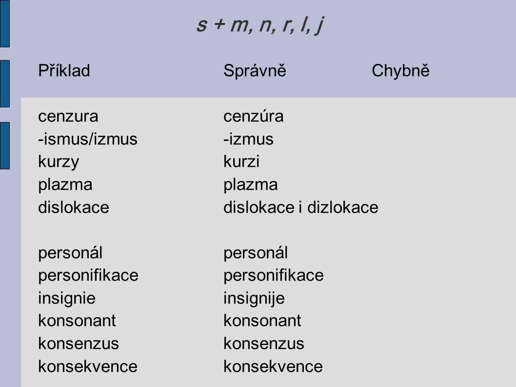 s + m, n, r, l, j PříkladSprávněChybně cenzuracenzúra -ismus/izmus-izmus kurzykurziplazma dislokacedislokace i dizlokacepersonálpersonifikace insignie