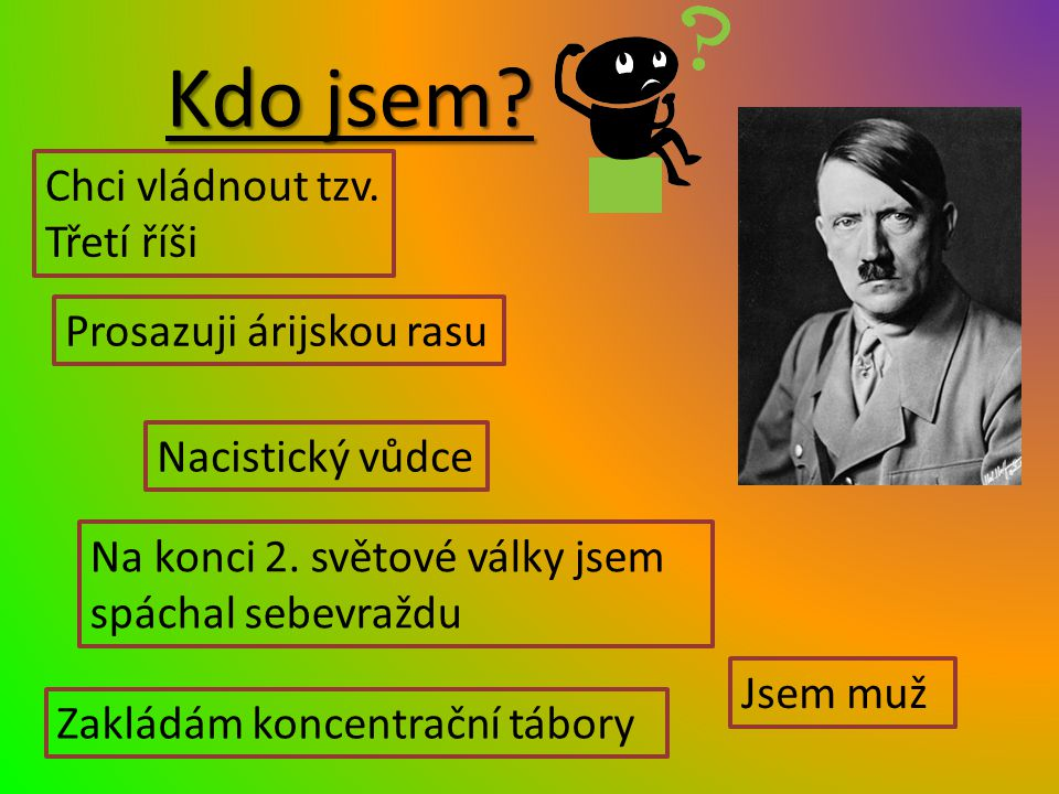 Kdo jsem? Jsem muž Nacistický vůdce Chci vládnout tzv. Třetí říši Zakládám koncentrační tábory Prosazuji árijskou rasu Na konci 2. světové války jsem