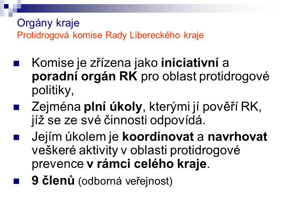 Orgány kraje Protidrogová komise Rady Libereckého kraje Komise je zřízena jako iniciativní a poradní orgán RK pro oblast protidrogové politiky, Zejmén