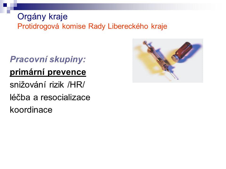 Orgány kraje Protidrogová komise Rady Libereckého kraje Pracovní skupiny: primární prevence snižování rizik /HR/ léčba a resocializace koordinace