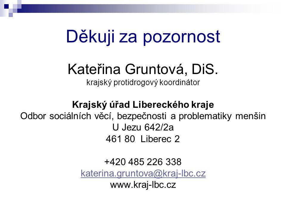 Děkuji za pozornost Kateřina Gruntová, DiS. krajský protidrogový koordinátor Krajský úřad Libereckého kraje Odbor sociálních věcí, bezpečnosti a probl