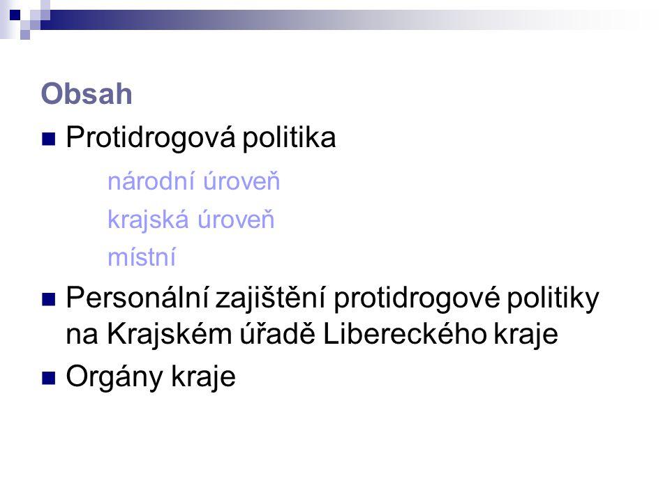 Obsah Protidrogová politika národní úroveň krajská úroveň místní Personální zajištění protidrogové politiky na Krajském úřadě Libereckého kraje Orgány
