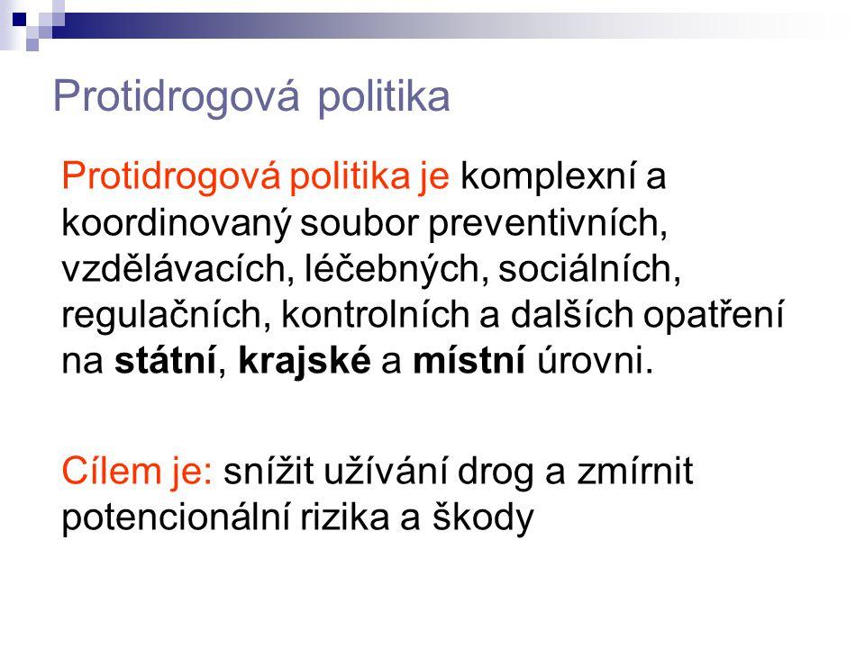Protidrogová politika Protidrogová politika je komplexní a koordinovaný soubor preventivních, vzdělávacích, léčebných, sociálních, regulačních, kontro