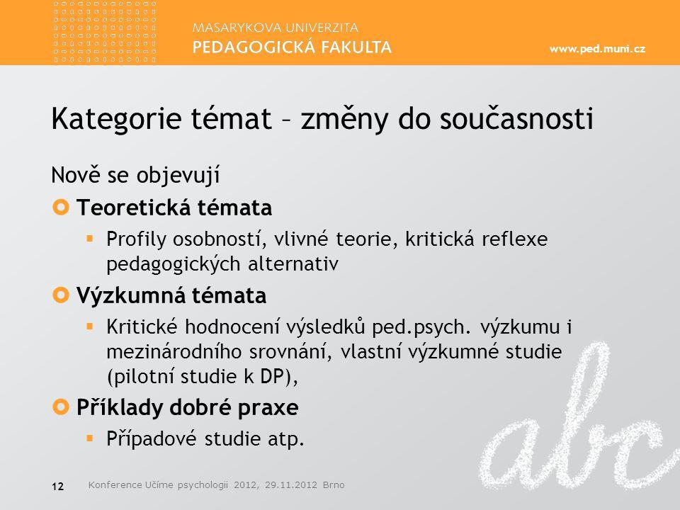 www.ped.muni.cz Kategorie témat – změny do současnosti Nově se objevují  Teoretická témata  Profily osobností, vlivné teorie, kritická reflexe pedag