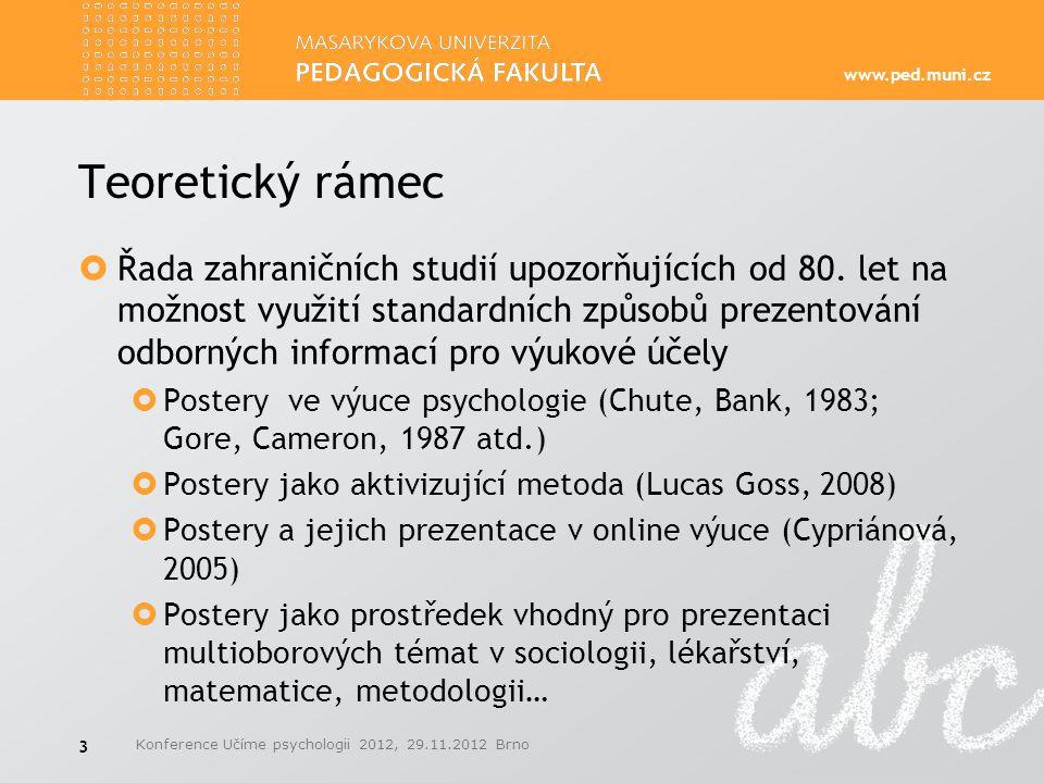 www.ped.muni.cz Teoretický rámec  Řada zahraničních studií upozorňujících od 80. let na možnost využití standardních způsobů prezentování odborných i