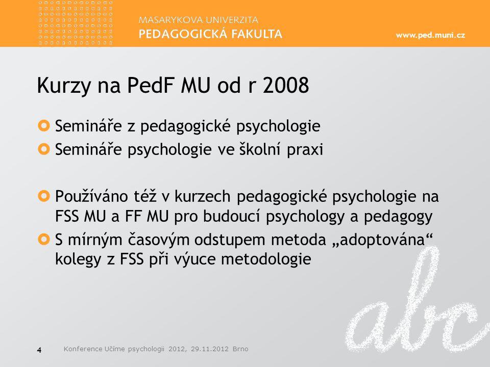 www.ped.muni.cz Kurzy na PedF MU od r 2008  Semináře z pedagogické psychologie  Semináře psychologie ve školní praxi  Používáno též v kurzech pedag