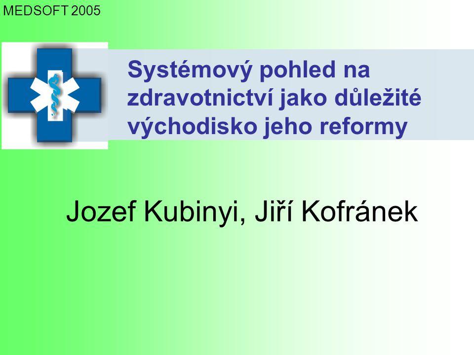 Systémový pohled na zdravotnictví jako důležité východisko jeho reformy Jozef Kubinyi, Jiří Kofránek MEDSOFT 2005
