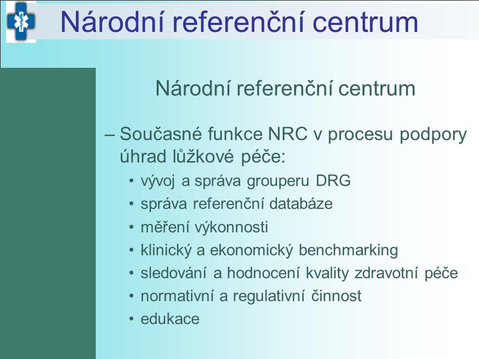 Národní referenční centrum –Současné funkce NRC v procesu podpory úhrad lůžkové péče: vývoj a správa grouperu DRG správa referenční databáze měření vý