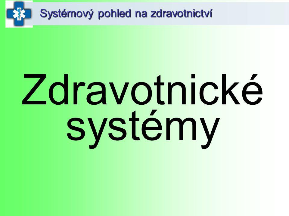 Systémový pohled na zdravotnictví Zdravotnické systémy