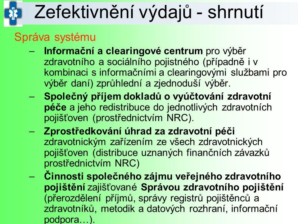 Správa systému –Informační a clearingové centrum pro výběr zdravotního a sociálního pojistného (případně i v kombinaci s informačními a clearingovými