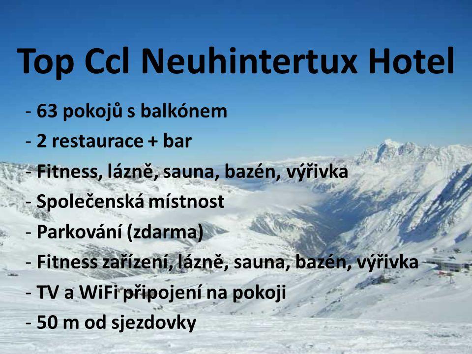 Top Ccl Neuhintertux Hotel - 63 pokojů s balkónem - 2 restaurace + bar - Fitness, lázně, sauna, bazén, výřivka - Společenská místnost - Parkování (zda