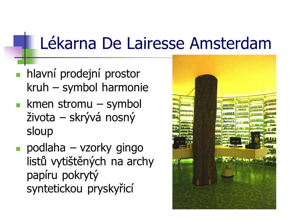 Lékarna De Lairesse Amsterdam hlavní prodejní prostor kruh – symbol harmonie kmen stromu – symbol života – skrývá nosný sloup podlaha – vzorky gingo listů vytištěných na archy papíru pokrytý syntetickou pryskyřicí