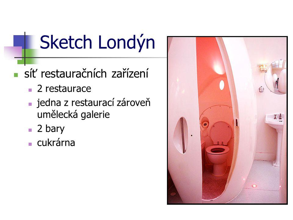 Sketch Londýn síť restauračních zařízení 2 restaurace jedna z restaurací zároveň umělecká galerie 2 bary cukrárna