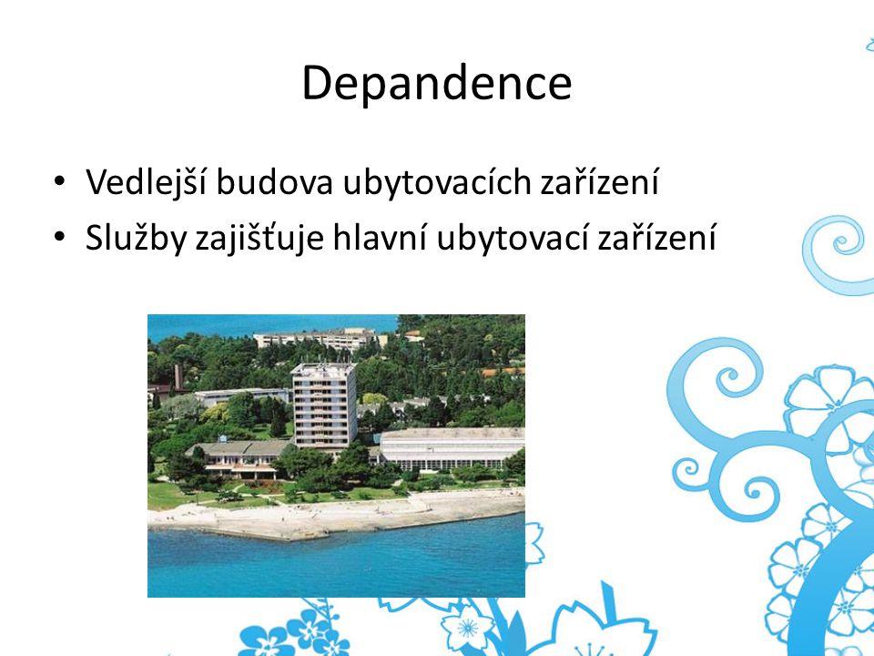 Depandence Vedlejší budova ubytovacích zařízení Služby zajišťuje hlavní ubytovací zařízení