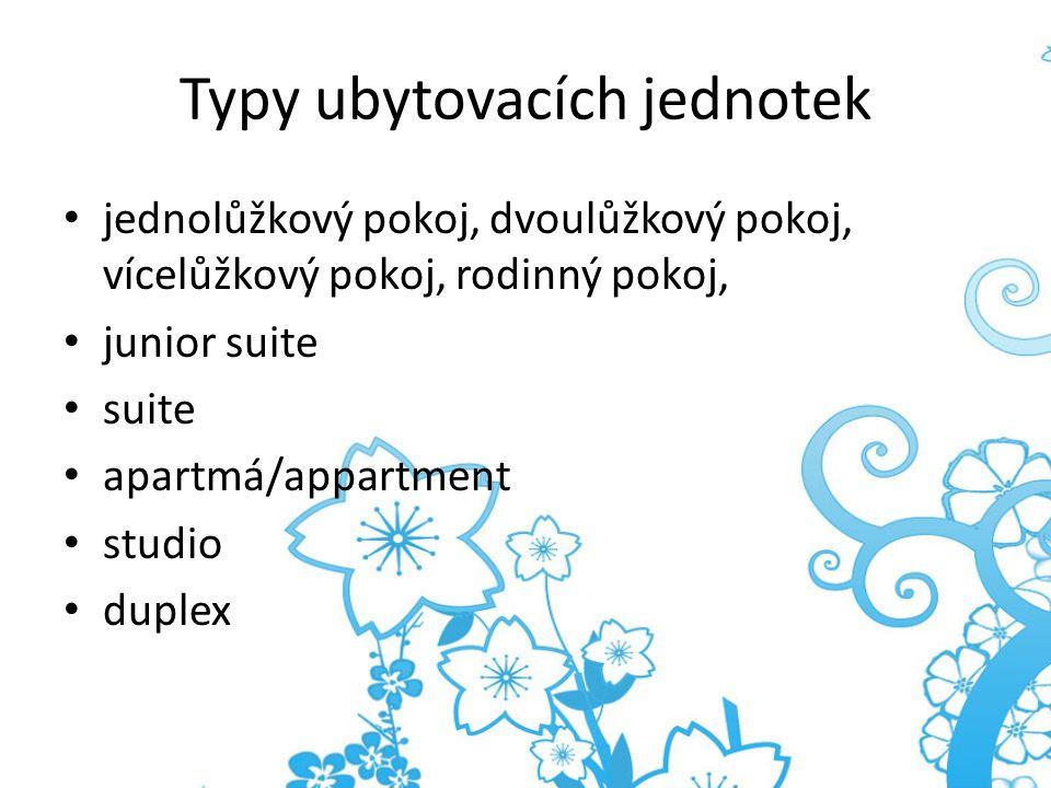 Typy ubytovacích jednotek jednolůžkový pokoj, dvoulůžkový pokoj, vícelůžkový pokoj, rodinný pokoj, junior suite suite apartmá/appartment studio duplex