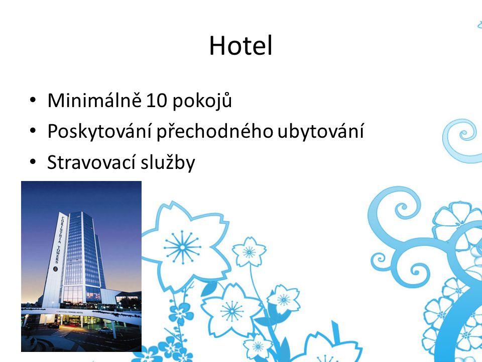 Motel Minimálně 10 pokojů Zejména pro motoristy V blízkosti pozemních komunikací Možnost parkování