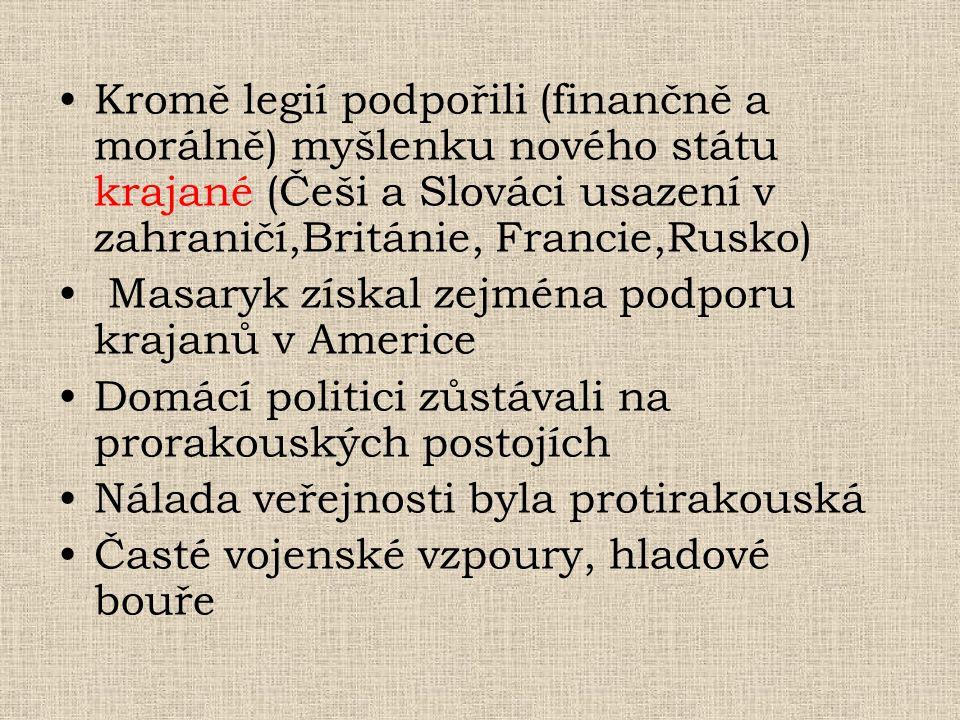 Kromě legií podpořili (finančně a morálně) myšlenku nového státu krajané (Češi a Slováci usazení v zahraničí,Británie, Francie,Rusko) Masaryk získal z