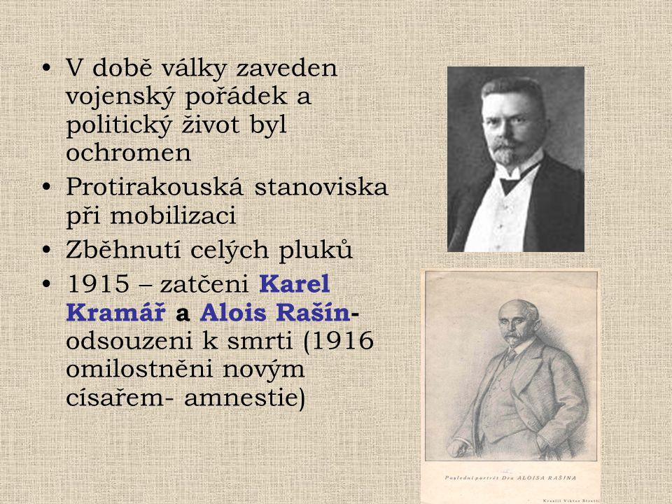 V době války zaveden vojenský pořádek a politický život byl ochromen Protirakouská stanoviska při mobilizaci Zběhnutí celých pluků 1915 – zatčeni Kare