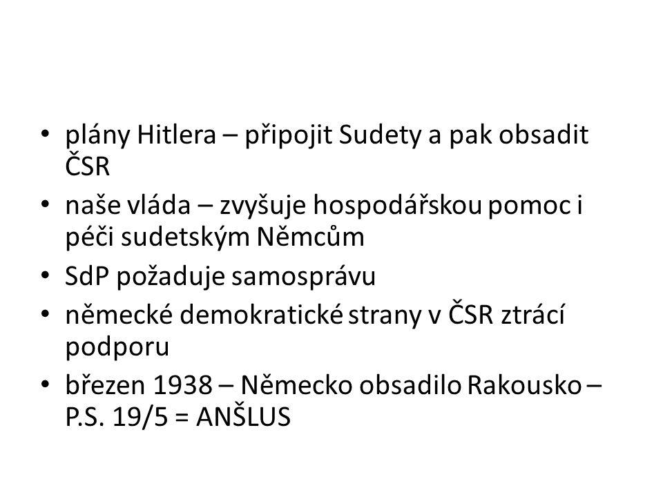 plány Hitlera – připojit Sudety a pak obsadit ČSR naše vláda – zvyšuje hospodářskou pomoc i péči sudetským Němcům SdP požaduje samosprávu německé demo