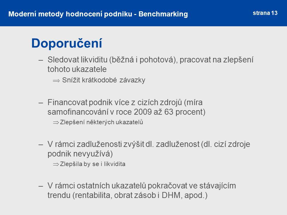 strana 13 Doporučení Moderní metody hodnocení podniku - Benchmarking –Sledovat likviditu (běžná i pohotová), pracovat na zlepšení tohoto ukazatele  S