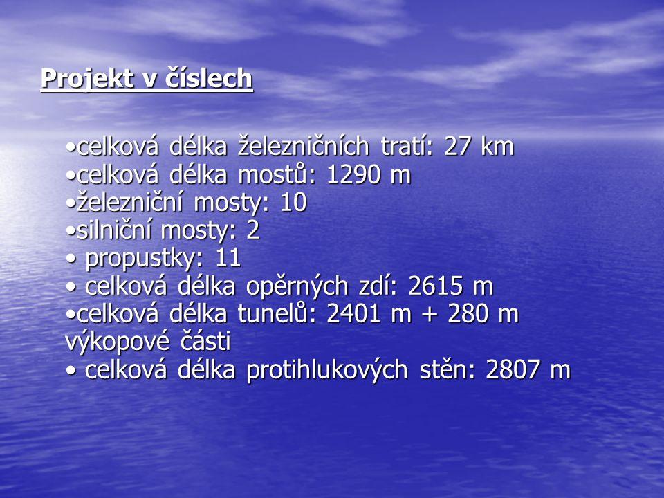 Projekt v číslech celková délka železničních tratí: 27 km celková délka mostů: 1290 m železniční mosty: 10 silniční mosty: 2 propustky: 11 celková délka opěrných zdí: 2615 m celková délka tunelů: 2401 m + 280 m výkopové části celková délka protihlukových stěn: 2807 m