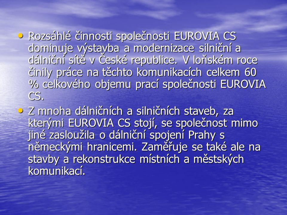 Rozsáhlé činnosti společnosti EUROVIA CS dominuje výstavba a modernizace silniční a dálniční sítě v České republice.