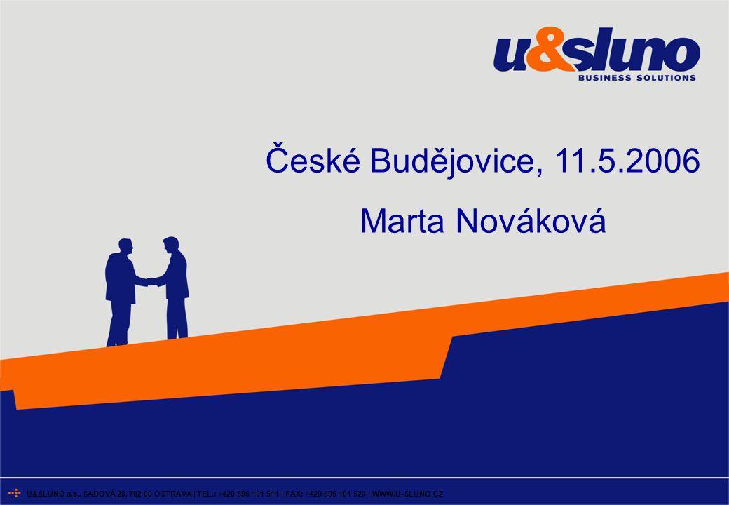 U&SLUNO a.s., SADOVÁ 28, 702 00 OSTRAVA | TEL.: +420 596 101 511 | FAX: +420 596 101 523 | WWW.U-SLUNO.CZ České Budějovice, 11.5.2006 Marta Nováková