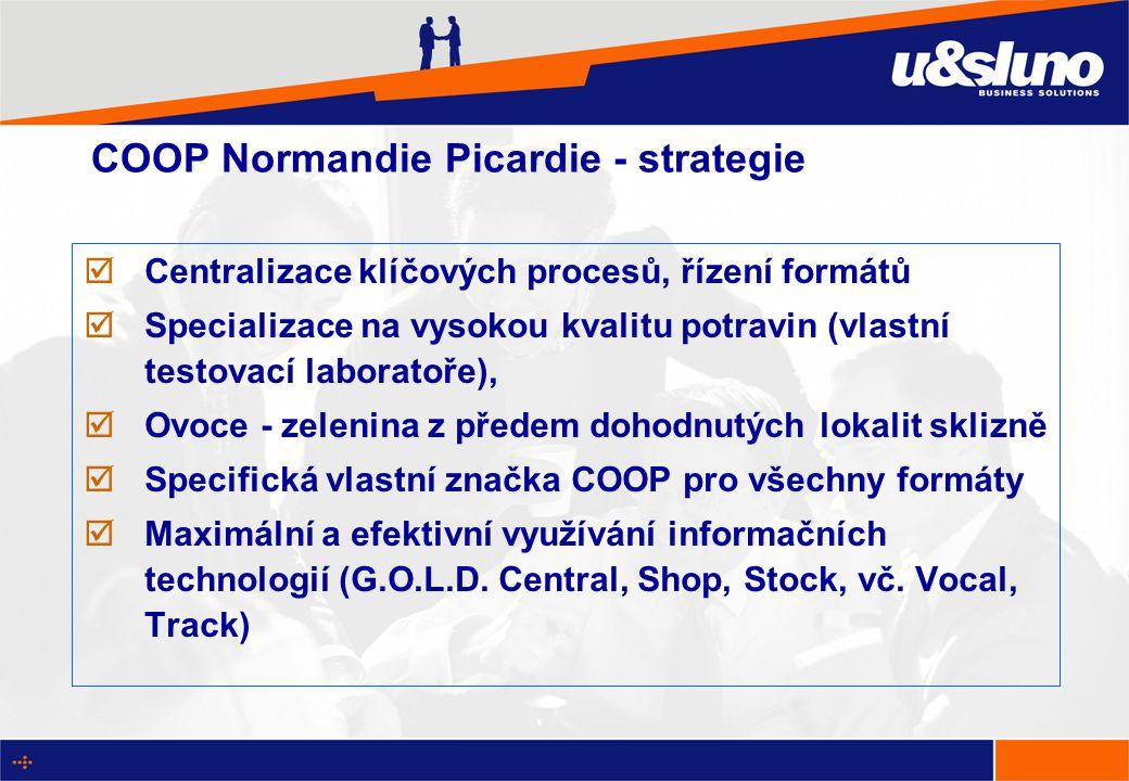 COOP Normandie Picardie - strategie  Centralizace klíčových procesů, řízení formátů  Specializace na vysokou kvalitu potravin (vlastní testovací laboratoře),  Ovoce - zelenina z předem dohodnutých lokalit sklizně  Specifická vlastní značka COOP pro všechny formáty  Maximální a efektivní využívání informačních technologií (G.O.L.D.