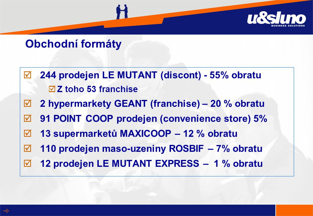 Obchodní formáty  244 prodejen LE MUTANT (discont) - 55% obratu  Z toho 53 franchise  2 hypermarkety GEANT (franchise) – 20 % obratu  91 POINT COOP prodejen (convenience store) 5%  13 supermarketů MAXICOOP – 12 % obratu  110 prodejen maso-uzeniny ROSBIF – 7% obratu  12 prodejen LE MUTANT EXPRESS – 1 % obratu