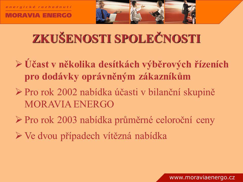 ÚÚ čast v několika desítkách výběrových řízeních pro dodávky oprávněným zákazníkům PP ro rok 2002 nabídka účasti v bilanční skupině MORAVIA ENERGO