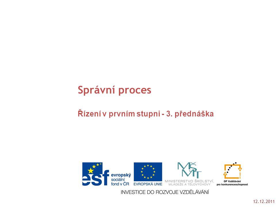 12.12.2011 Tento studijní materil byl vytvořen jako výstup z projektu č. CZ.1.07/2.2.00/15.0189. Správní proces Řízení v prvním stupni - 3. přednáška