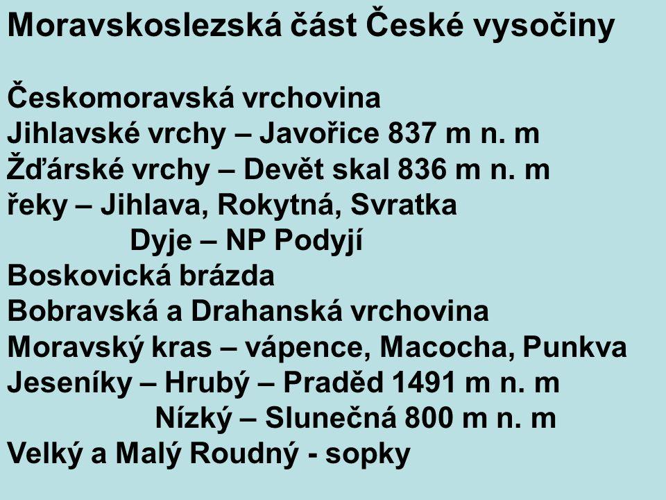 Moravskoslezská část České vysočiny Českomoravská vrchovina Jihlavské vrchy – Javořice 837 m n.