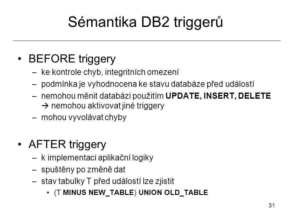 31 Sémantika DB2 triggerů BEFORE triggery –ke kontrole chyb, integritních omezení –podmínka je vyhodnocena ke stavu databáze před událostí –nemohou měnit databázi použitím UPDATE, INSERT, DELETE  nemohou aktivovat jiné triggery –mohou vyvolávat chyby AFTER triggery –k implementaci aplikační logiky –spuštěny po změně dat –stav tabulky T před událostí lze zjistit (T MINUS NEW_TABLE) UNION OLD_TABLE