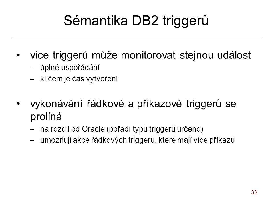 32 Sémantika DB2 triggerů více triggerů může monitorovat stejnou událost –úplné uspořádání –klíčem je čas vytvoření vykonávání řádkové a příkazové triggerů se prolíná –na rozdíl od Oracle (pořadí typů triggerů určeno) –umožňují akce řádkových triggerů, které mají více příkazů