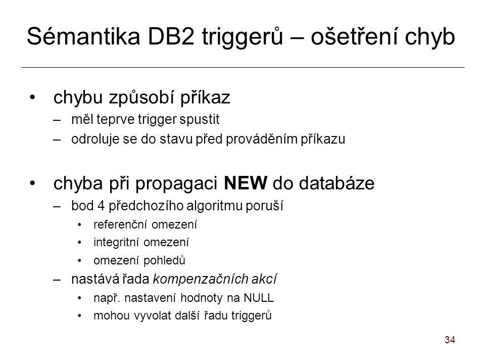 34 Sémantika DB2 triggerů – ošetření chyb chybu způsobí příkaz –měl teprve trigger spustit –odroluje se do stavu před prováděním příkazu chyba při propagaci NEW do databáze –bod 4 předchozího algoritmu poruší referenční omezení integritní omezení omezení pohledů –nastává řada kompenzačních akcí např.
