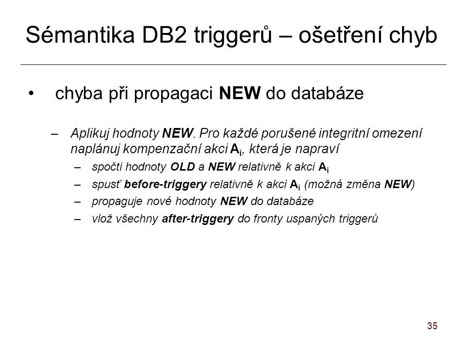 35 Sémantika DB2 triggerů – ošetření chyb chyba při propagaci NEW do databáze –Aplikuj hodnoty NEW.