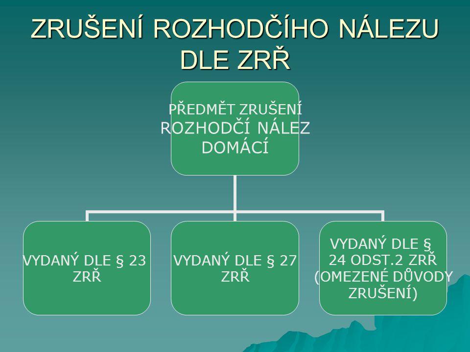 ZRUŠENÍ ROZHODČÍHO NÁLEZU DLE ZRŘ PŘEDMĚT ZRUŠENÍ ROZHODČÍ NÁLEZ DOMÁCÍ VYDANÝ DLE § 23 ZRŘ VYDANÝ DLE § 27 ZRŘ VYDANÝ DLE § 24 ODST.2 ZRŘ (OMEZENÉ DŮVODY ZRUŠENÍ)