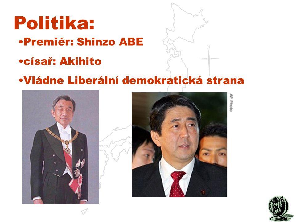 Politika: Premiér: Shinzo ABE císař: Akihito Vládne Liberální demokratická strana