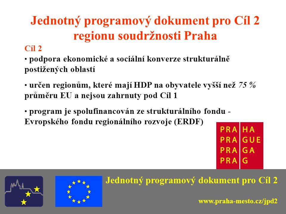 Jednotný programový dokument pro Cíl 2 regionu soudržnosti Praha Cíl 2 podpora ekonomické a sociální konverze strukturálně postižených oblastí určen r
