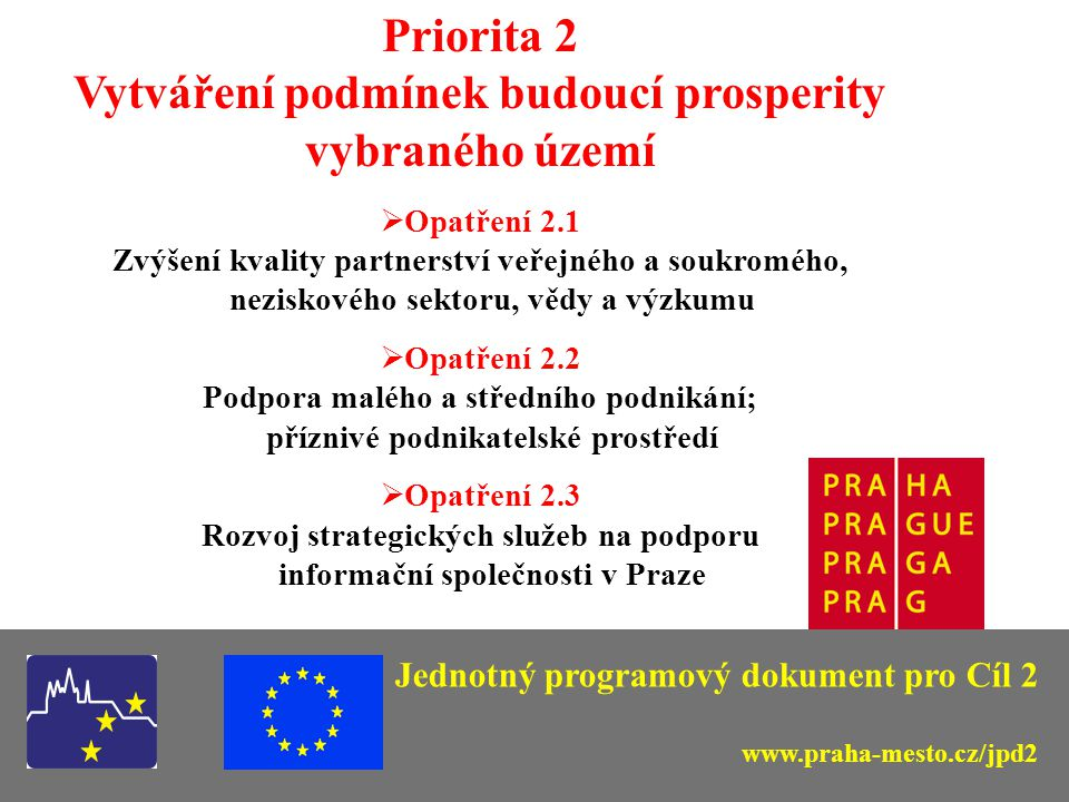 Jednotný programový dokument pro Cíl 2 Orgány řízení a realizace JPD 2 Řídicí orgán (odpovídá za realizaci programu): - Ministerstvo pro místní rozvoj Zprostředkující orgány: - Regionální rada (tj.