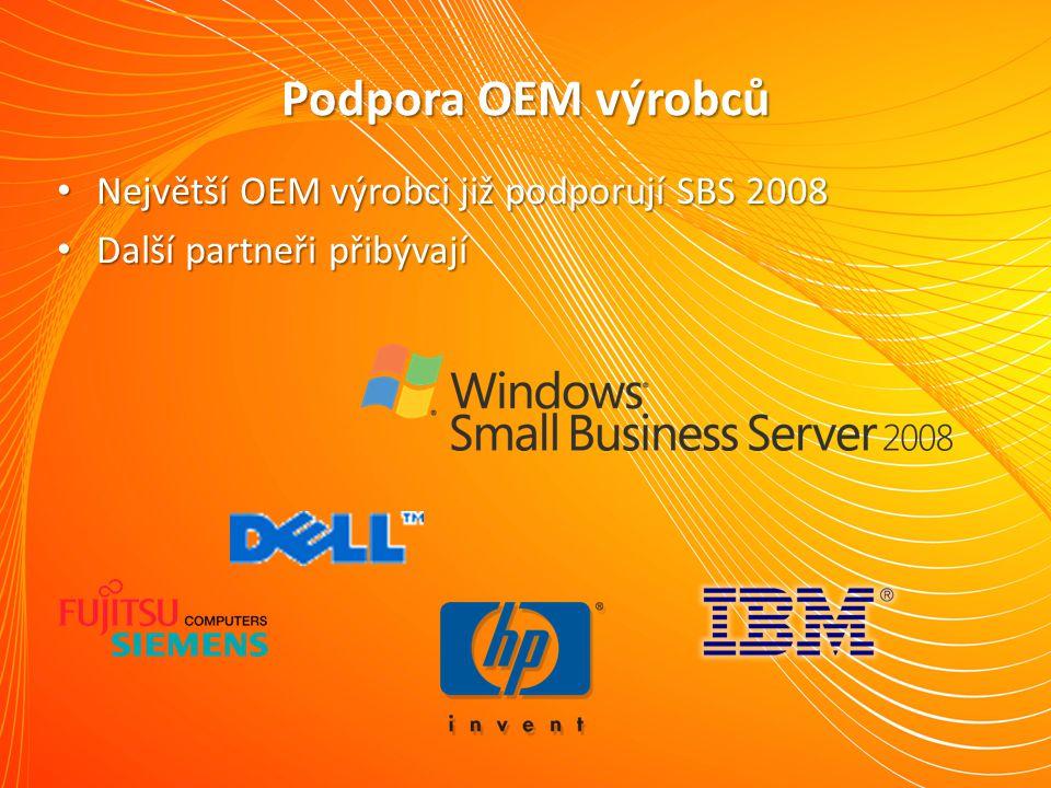 Podpora OEM výrobců Největší OEM výrobci již podporují SBS 2008 Největší OEM výrobci již podporují SBS 2008 Další partneři přibývají Další partneři přibývají