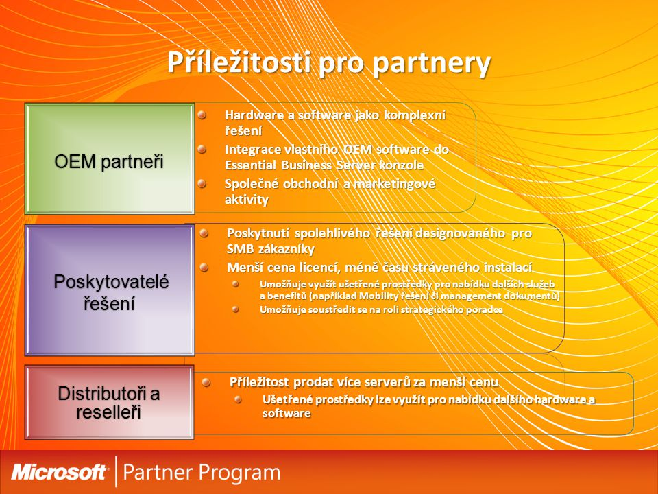Příležitosti pro partnery Hardware a software jako komplexní řešení Integrace vlastního OEM software do Essential Business Server konzole Společné obchodní a marketingové aktivity OEM partneři Poskytovatelé řešení Poskytovatelé řešení Distributoři a reselleři Poskytnutí spolehlivého řešení designovaného pro SMB zákazníky Menší cena licencí, méně času stráveného instalací Umožňuje využít ušetřené prostředky pro nabídku dalších služeb a benefitů (například Mobility řešení či management dokumentů) Umožňuje soustředit se na roli strategického poradce Příležitost prodat více serverů za menší cenu Ušetřené prostředky lze využít pro nabídku dalšího hardware a software