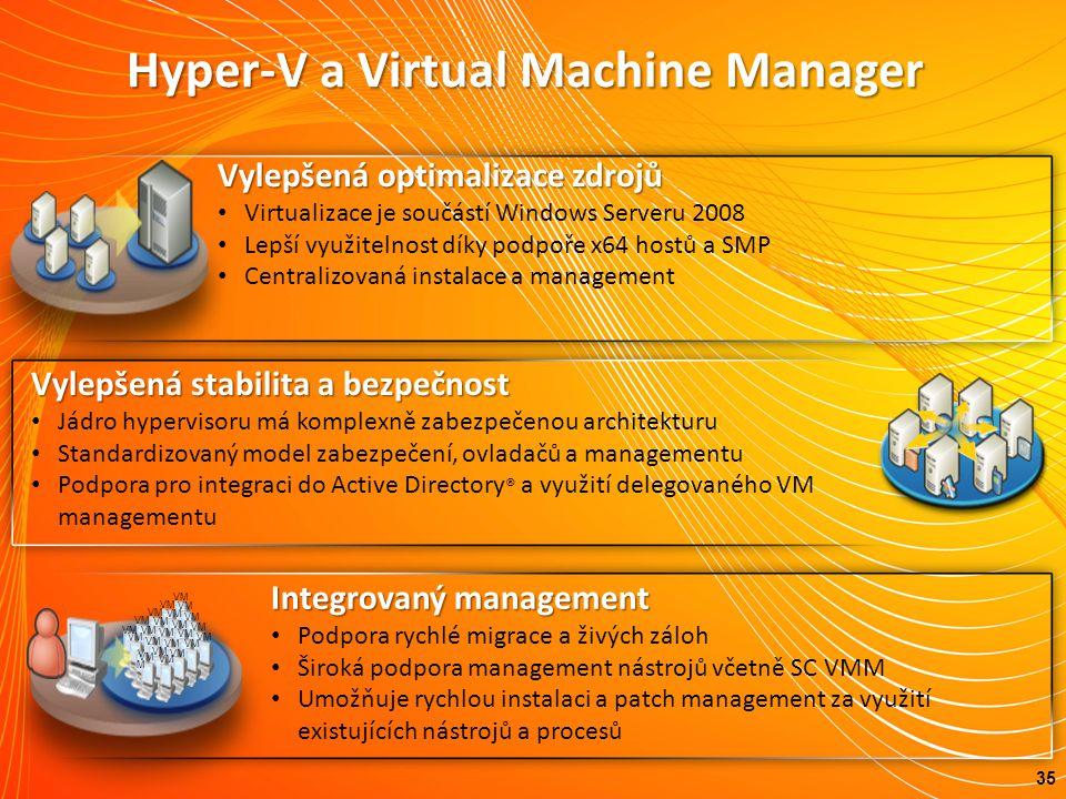 Hyper-V a Virtual Machine Manager 35 Vylepšená stabilita a bezpečnost Jádro hypervisoru má komplexně zabezpečenou architekturu Standardizovaný model zabezpečení, ovladačů a managementu Podpora pro integraci do Active Directory ® a využití delegovaného VM managementu Vylepšenáoptimalizace zdrojů Vylepšená optimalizace zdrojů Virtualizace je součástí Windows Serveru 2008 Lepší využitelnost díky podpoře x64 hostů a SMP Centralizovaná instalace a management Integrovaný management Podpora rychlé migrace a živých záloh Široká podpora management nástrojů včetně SC VMM Umožňuje rychlou instalaci a patch management za využití existujících nástrojů a procesů VM VMVM